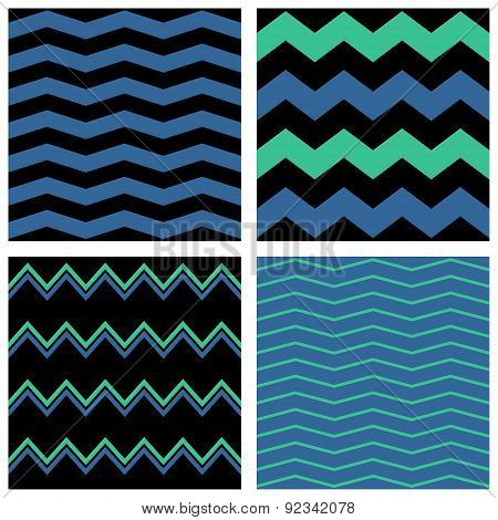 Zig zag chevron vector pattern set