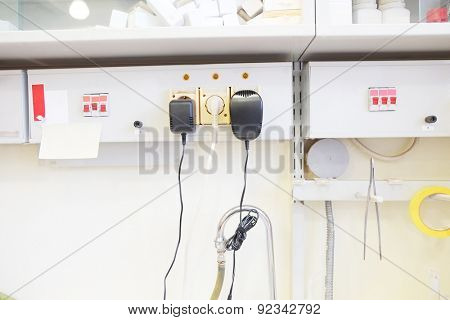 Electrical outlet in chemical-biological laboratory