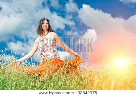 Hippie Girl In A Spring Meadow Strong Colors
