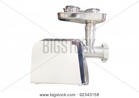 Electric meat grinder isolated under the white background