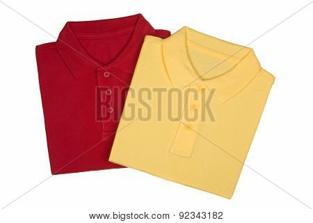 Two Folded Red And Yellow Polo Shirts Isolated On White Background From Above