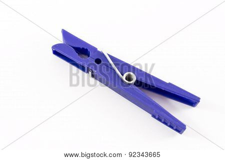 Closeup Of Blue Isolated Plastic Peg