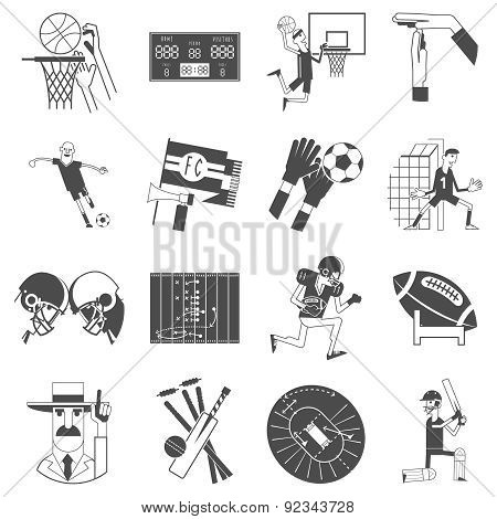 Team sport icons set black