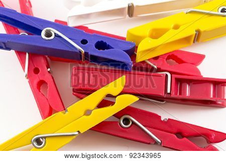 Closeup Of Multicolored Plastic Pegs