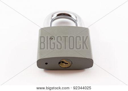 Closeup Of Grey Locked Padlock