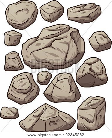 Cartoon boulders. Cartoon boulders, rocks and pebbles. Vector clip art illustration with simple gradients. Each on a separate layer.