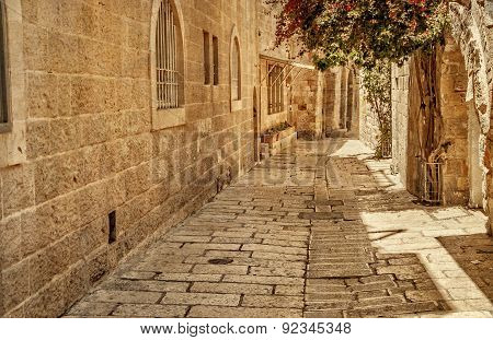 Ancient Alley In Jewish Quarter, Jerusalem. Photo In Old Color Image Style.