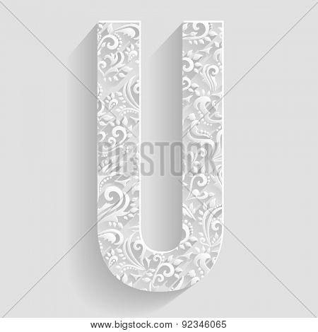 Letter U. Vector Floral Invitation cards Decorative Font