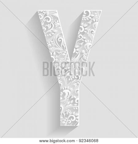 Letter Y. Vector Floral Invitation cards Decorative Font