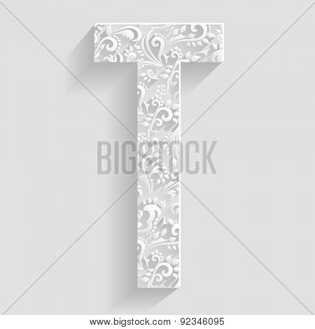 Letter T. Vector Floral Invitation cards Decorative Font