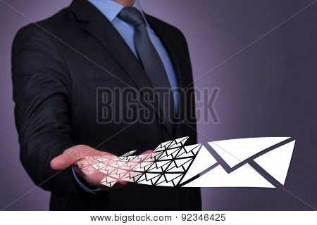 Connection Concept Email on Human Hand