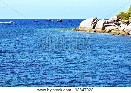 Boat  In Thailand Kho Tao Bay Abstract Of A  Water   South China Sea