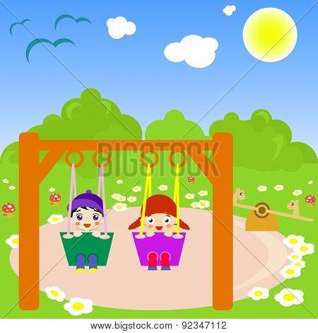 Happy children swinging