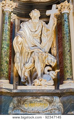 Sculpture In Basilica Of Saint John Lateran In Rome, Italy.