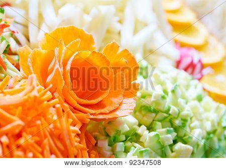 Rosette Of Carrots Among The Chopped Vegetables