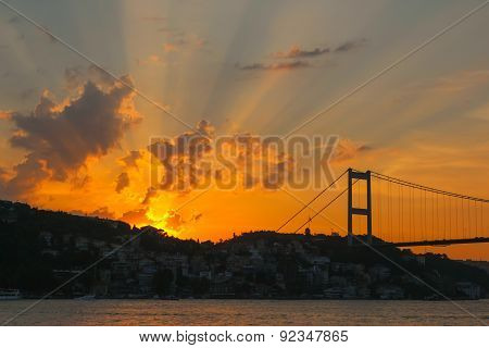 Sunset At Bosphorus Bridge