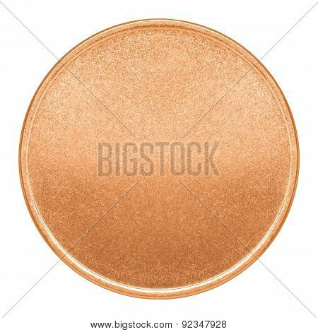 Blank Template For Copper Coin Or Medal With Metal Texture