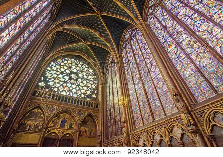 Paris, France - May 13, 2015: Famous Stained Glass Windows And Ceiling At  Sainte Chapelle In Paris.