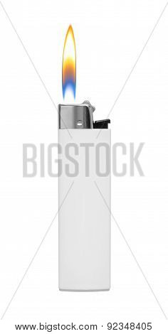 Lighter With Fire On White Background