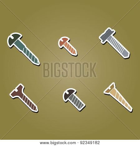 set of color icons with screws