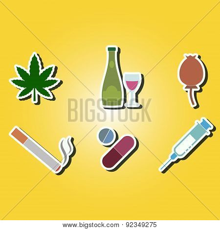 set of color icons with symbols of drug addiction
