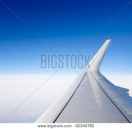 Wing Of The Plane. View From The Porthole.