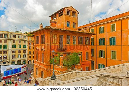Houses In Piazza Spagna In Rome, Italy.