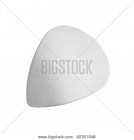 Metal Guitar Pick On White Background