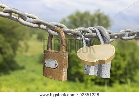 Three Locks On A Thick Galvanized Chain