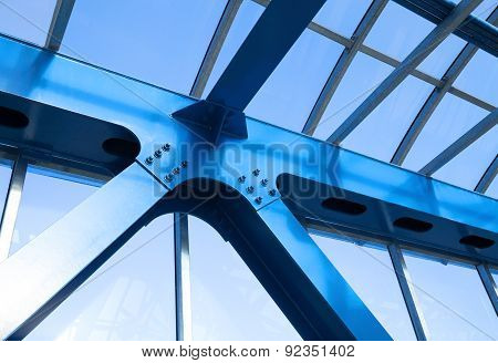 Steel Beams. Fragment Modern Construction.