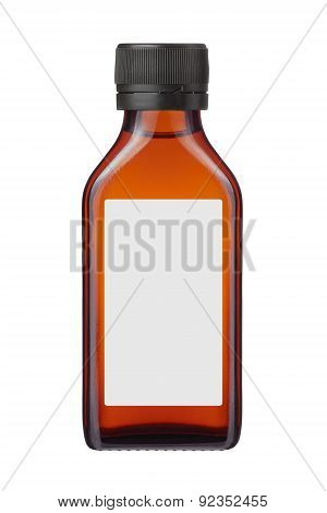 Medicine Bottle Or Cosmetic Product With Blank Label On White Background