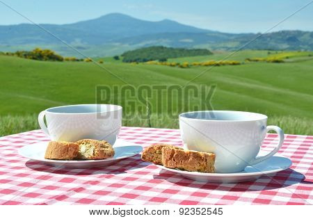 Two coffee cups and cantuccini on the chequered cloth against Tuscan landscape, Italy