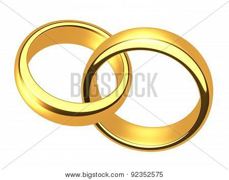 Wedding Gold Rings On A White Background