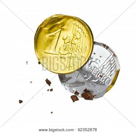 Wrapper Of The Chocolate Euro On A White Background
