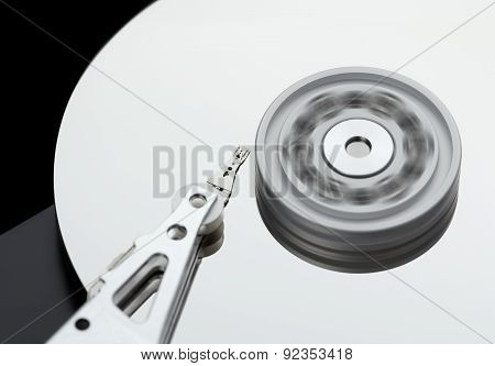 Hard Disk Drive Rotates At High Speed