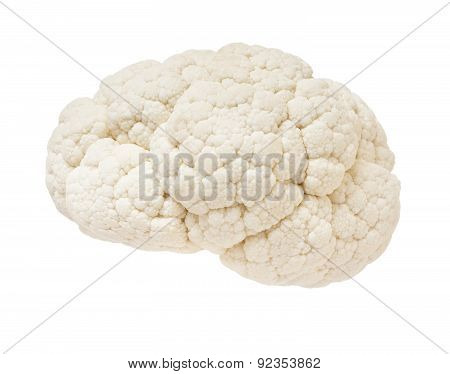Cauliflower In The Form Of The Human Brain On A White Background