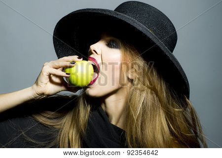 Pretty Sexual Girl With Apple