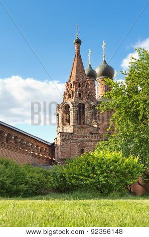 Ancient Orthodox Temple Against The Blue Sky. Krutitskoe Compound In Moscow.