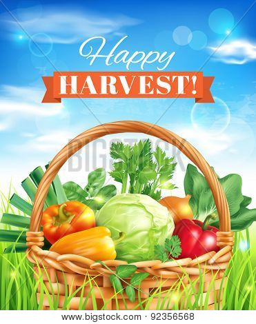 Happy harvest poster design. Vector illustration.