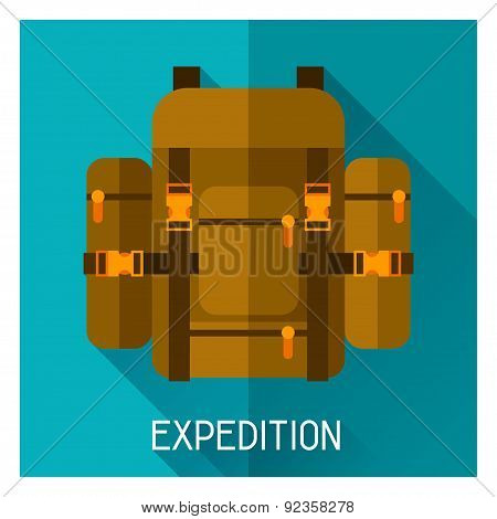 Tourist creative illustration of backpack in flat style