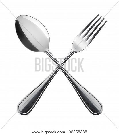 Flatware On White Background. Fork And Spoon.