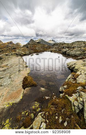 High Altitude Alpine Lake With Dramatic Sky