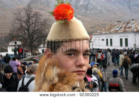 People In Traditional Costumes Celebrating The Winter Carnival
