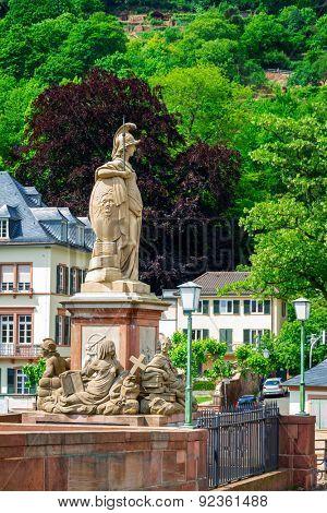 Statue of Minerva on the Old Bridge  of Heidelberg, Germany.