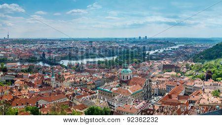 Panoramic view of Old Town Prague with Charles Bridge, Prague, Czech Republic