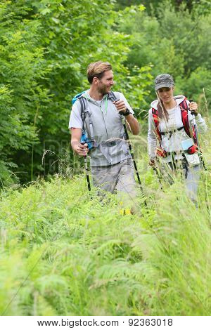 Backpackers on a hiking journey