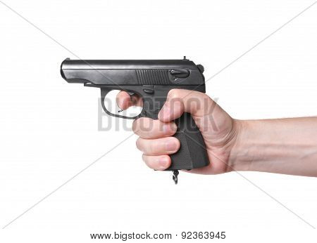Shooting From Gun On White Background