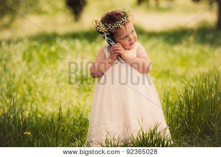 childhood, funny girl outdoors