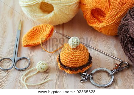 Handmade Colorful Crochet Sweets Key Ring