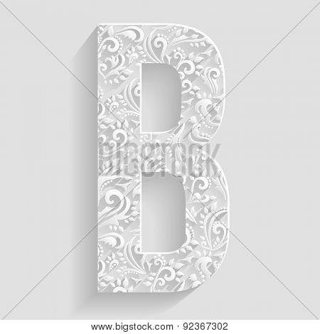 Letter B. Vector Floral Invitation cards Decorative Font